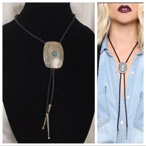 Vintage Sterling Turquoise Concho Bolo Tie